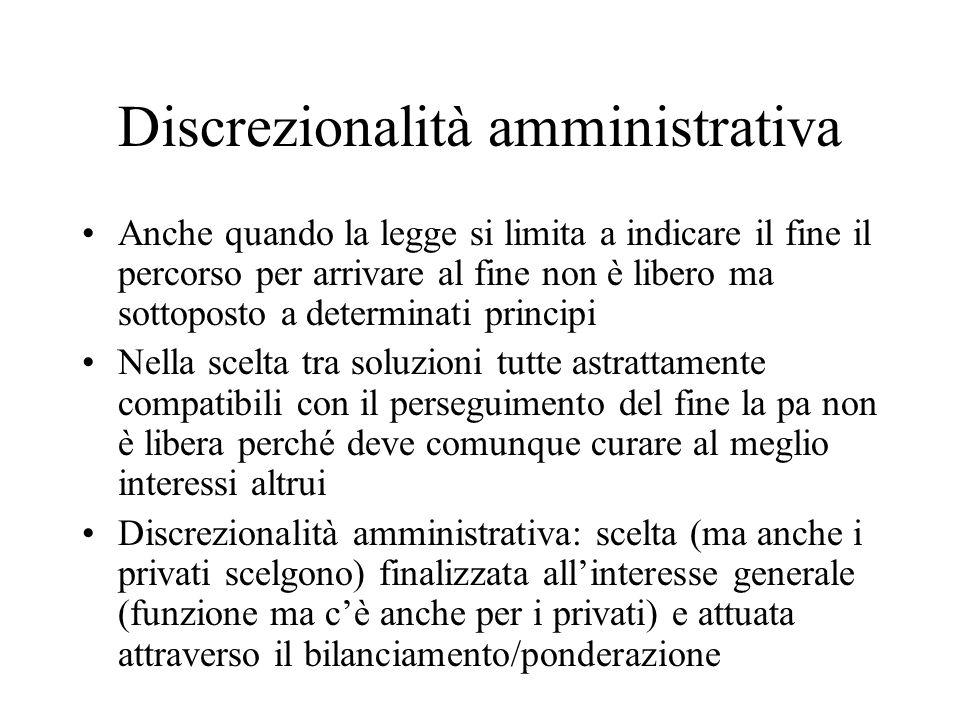 Discrezionalità amministrativa Anche quando la legge si limita a indicare il fine il percorso per arrivare al fine non è libero ma sottoposto a determ