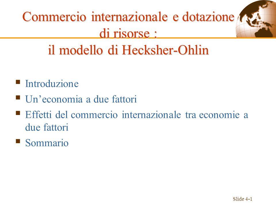 Slide 4-1 Introduzione Uneconomia a due fattori Effetti del commercio internazionale tra economie a due fattori Sommario Commercio internazionale e do