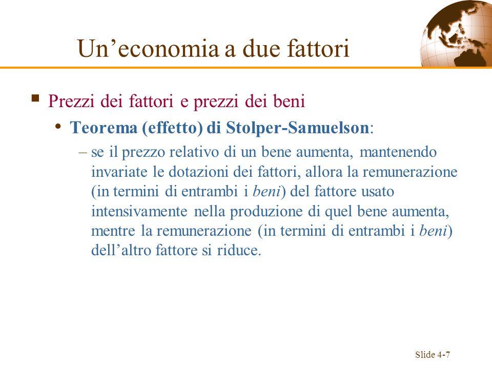 Slide 4-7 Prezzi dei fattori e prezzi dei beni Teorema (effetto) di Stolper-Samuelson: –se il prezzo relativo di un bene aumenta, mantenendo invariate
