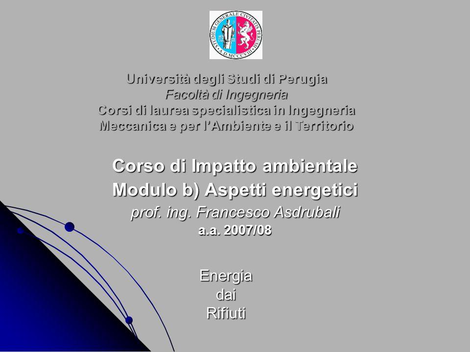 Università degli Studi di Perugia Facoltà di Ingegneria Corsi di laurea specialistica in Ingegneria Meccanica e per lAmbiente e il Territorio Corso di