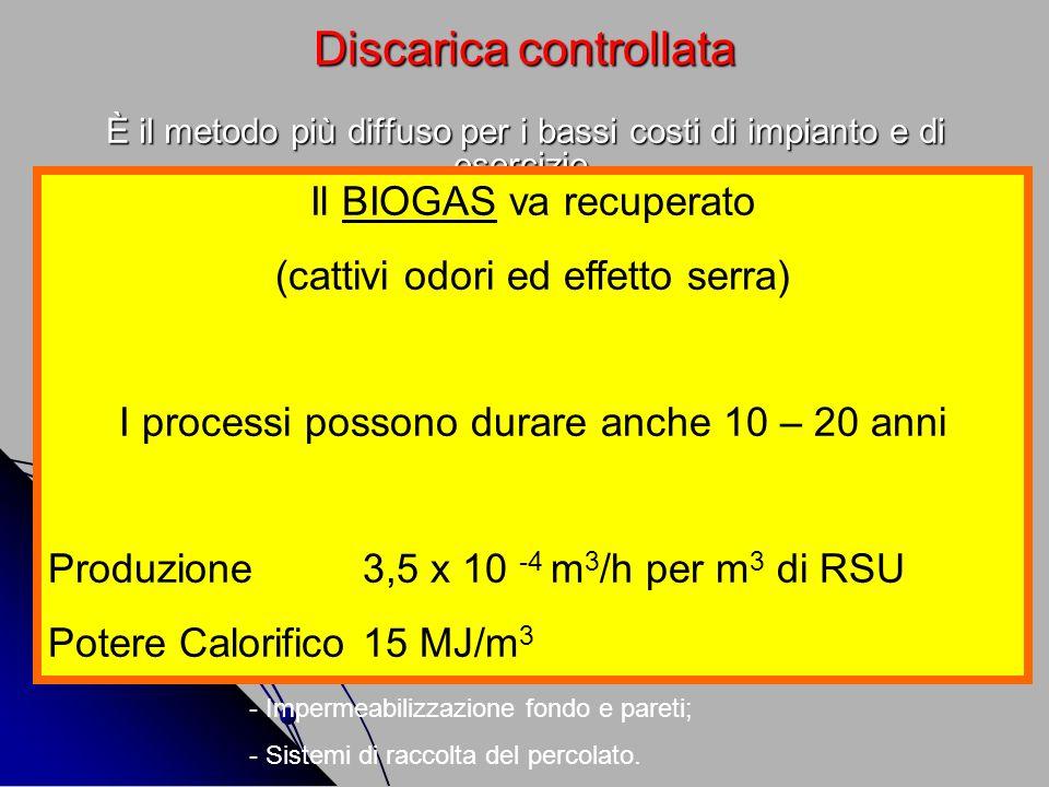 Discarica controllata È il metodo più diffuso per i bassi costi di impianto e di esercizio. - Comporta la perdita indiscriminata della frazione merceo