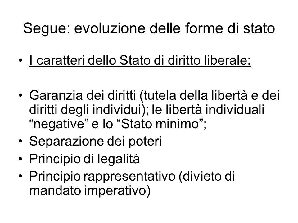 Segue: evoluzione delle forme di stato I caratteri dello Stato di diritto liberale: Garanzia dei diritti (tutela della libertà e dei diritti degli ind