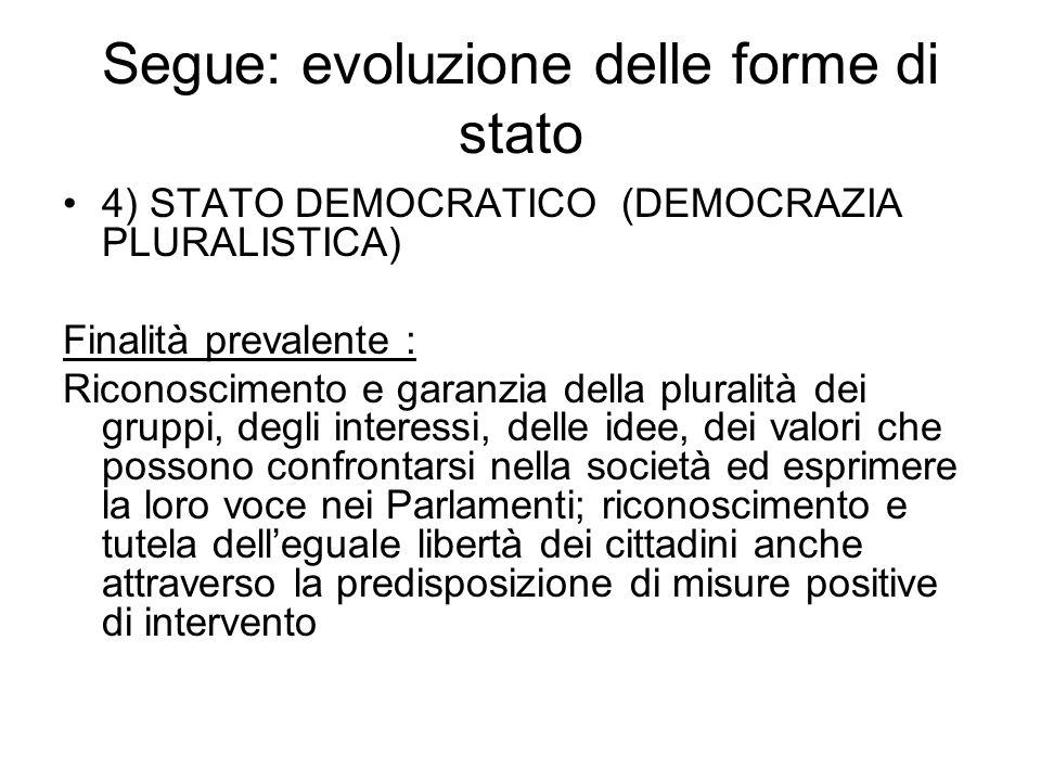 Segue: evoluzione delle forme di stato 4) STATO DEMOCRATICO (DEMOCRAZIA PLURALISTICA) Finalità prevalente : Riconoscimento e garanzia della pluralità