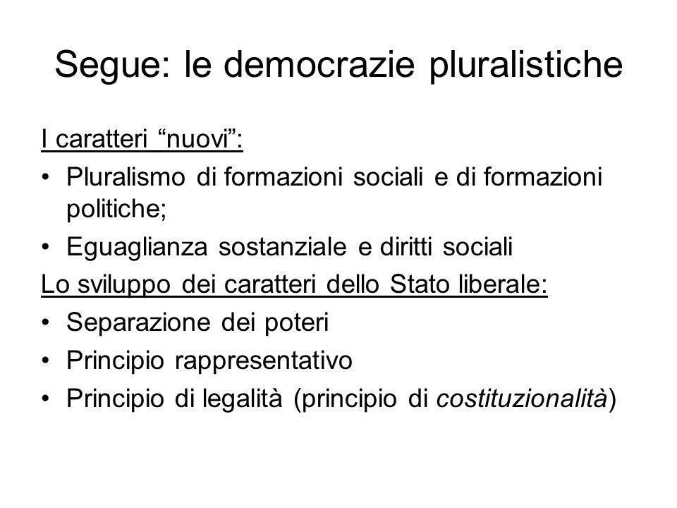 Segue: le democrazie pluralistiche I caratteri nuovi: Pluralismo di formazioni sociali e di formazioni politiche; Eguaglianza sostanziale e diritti so