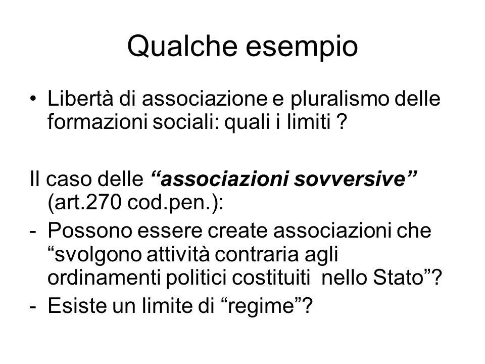 Qualche esempio Libertà di associazione e pluralismo delle formazioni sociali: quali i limiti ? Il caso delle associazioni sovversive (art.270 cod.pen