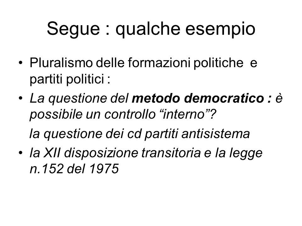 Segue : qualche esempio Pluralismo delle formazioni politiche e partiti politici : La questione del metodo democratico : è possibile un controllo inte