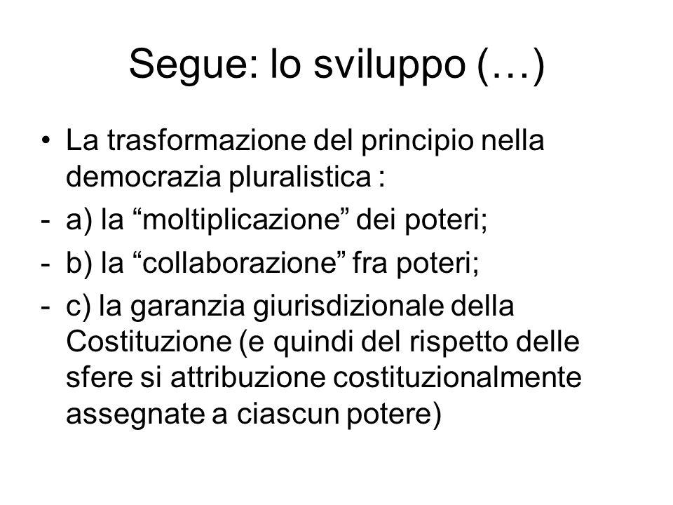 Segue: lo sviluppo (…) La trasformazione del principio nella democrazia pluralistica : -a) la moltiplicazione dei poteri; -b) la collaborazione fra po