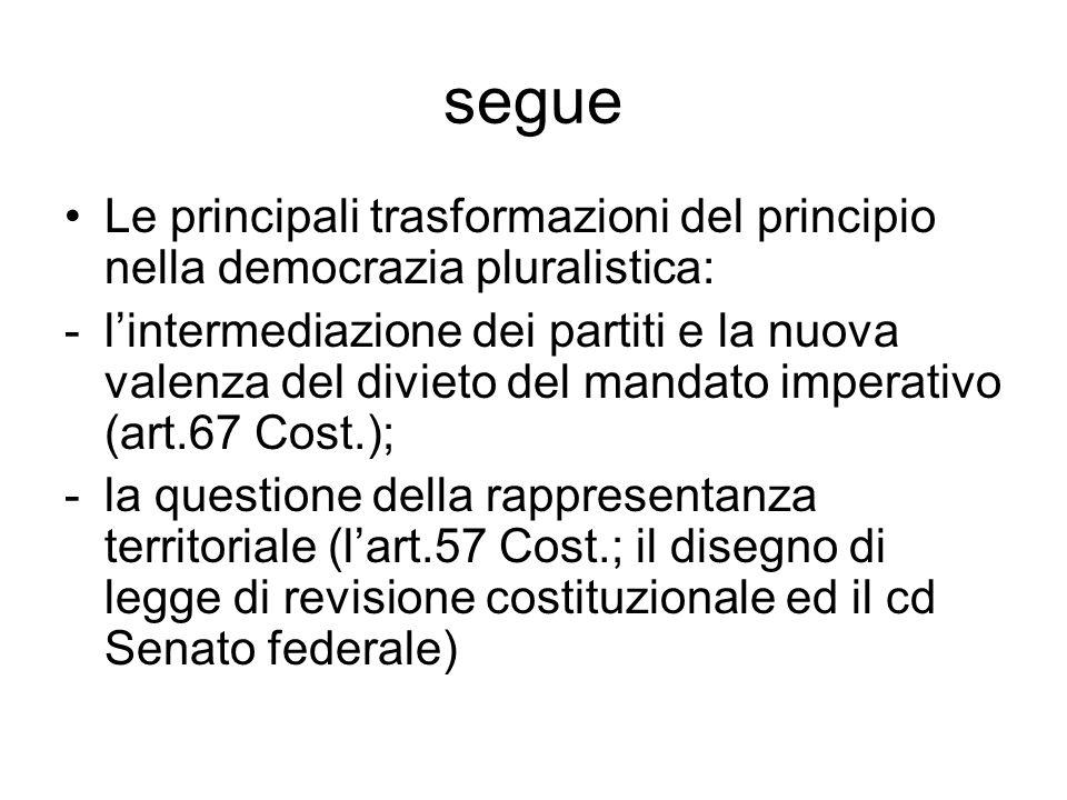 segue Le principali trasformazioni del principio nella democrazia pluralistica: -lintermediazione dei partiti e la nuova valenza del divieto del manda