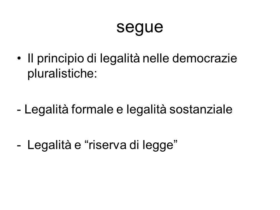 segue Il principio di legalità nelle democrazie pluralistiche: - Legalità formale e legalità sostanziale -Legalità e riserva di legge