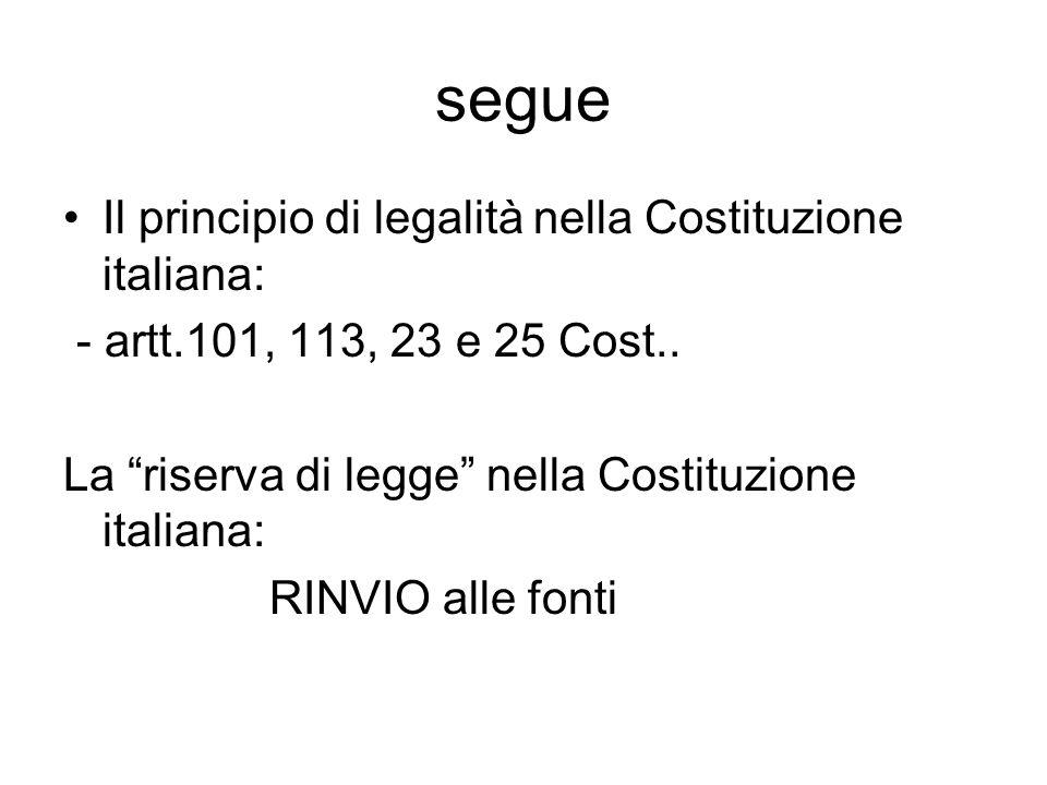 segue Il principio di legalità nella Costituzione italiana: - artt.101, 113, 23 e 25 Cost.. La riserva di legge nella Costituzione italiana: RINVIO al