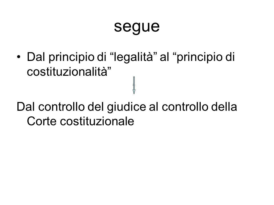 segue Dal principio di legalità al principio di costituzionalità Dal controllo del giudice al controllo della Corte costituzionale