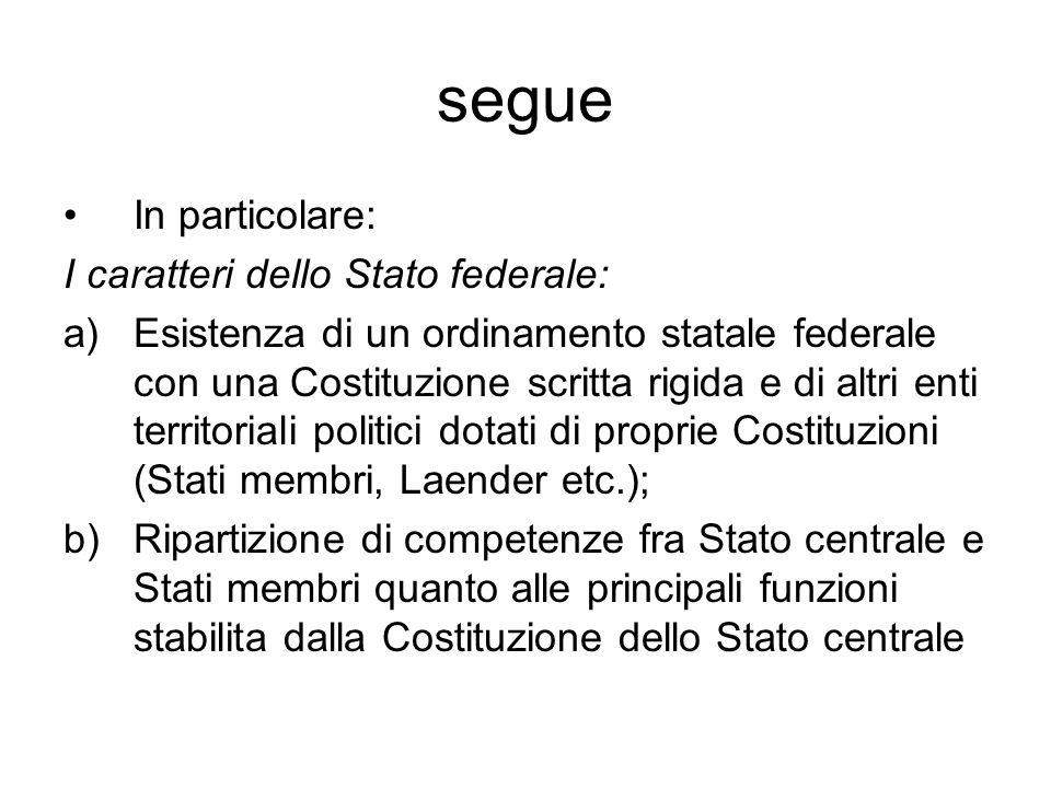 segue In particolare: I caratteri dello Stato federale: a)Esistenza di un ordinamento statale federale con una Costituzione scritta rigida e di altri