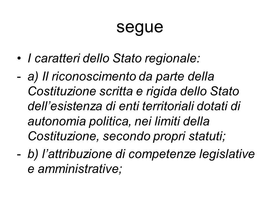 segue I caratteri dello Stato regionale: -a) Il riconoscimento da parte della Costituzione scritta e rigida dello Stato dellesistenza di enti territor