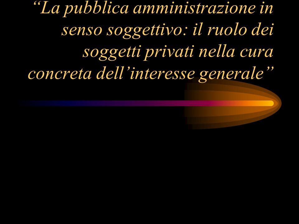 La pubblica amministrazione in senso soggettivo: il ruolo dei soggetti privati nella cura concreta dellinteresse generale