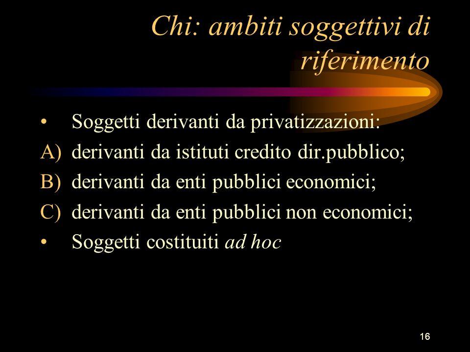 16 Chi: ambiti soggettivi di riferimento Soggetti derivanti da privatizzazioni: A)derivanti da istituti credito dir.pubblico; B)derivanti da enti pubb