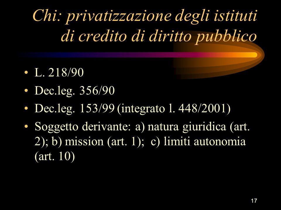17 Chi: privatizzazione degli istituti di credito di diritto pubblico L. 218/90 Dec.leg. 356/90 Dec.leg. 153/99 (integrato l. 448/2001) Soggetto deriv