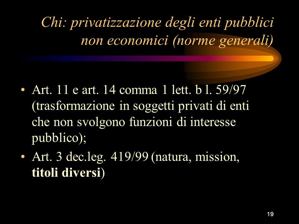 19 Chi: privatizzazione degli enti pubblici non economici (norme generali) Art. 11 e art. 14 comma 1 lett. b l. 59/97 (trasformazione in soggetti priv