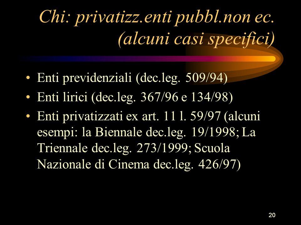 20 Chi: privatizz.enti pubbl.non ec. (alcuni casi specifici) Enti previdenziali (dec.leg. 509/94) Enti lirici (dec.leg. 367/96 e 134/98) Enti privatiz