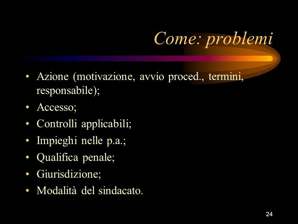 24 Come: problemi Azione (motivazione, avvio proced., termini, responsabile); Accesso; Controlli applicabili; Impieghi nelle p.a.; Qualifica penale; G