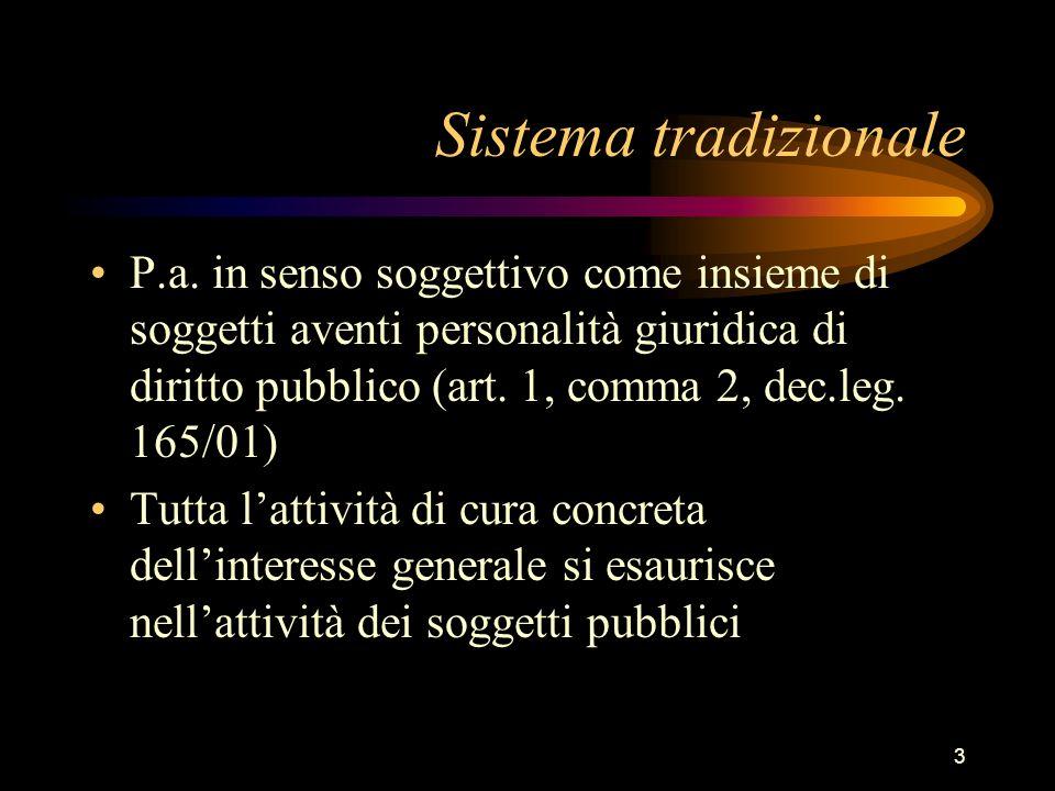 3 Sistema tradizionale P.a. in senso soggettivo come insieme di soggetti aventi personalità giuridica di diritto pubblico (art. 1, comma 2, dec.leg. 1