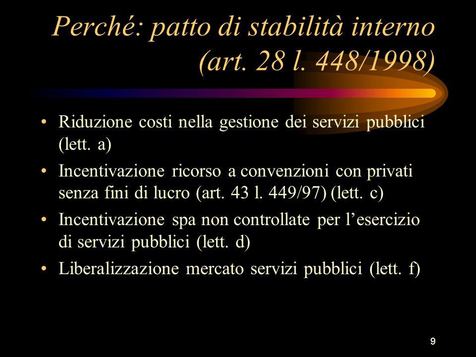 9 Perché: patto di stabilità interno (art. 28 l. 448/1998) Riduzione costi nella gestione dei servizi pubblici (lett. a) Incentivazione ricorso a conv