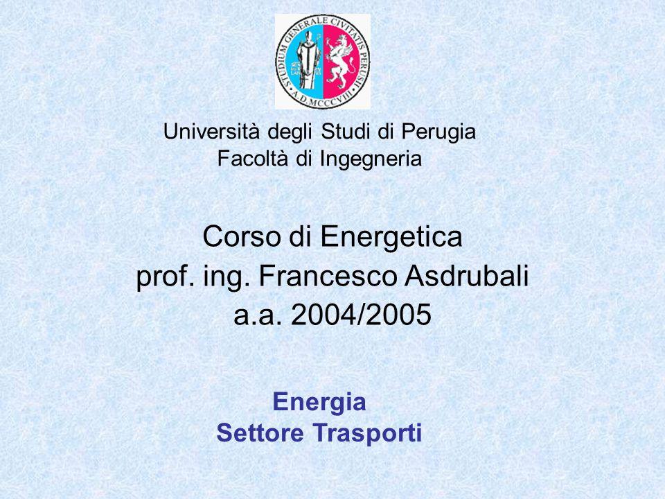 Università degli Studi di Perugia Facoltà di Ingegneria Corso di Energetica prof. ing. Francesco Asdrubali a.a. 2004/2005 Energia Settore Trasporti