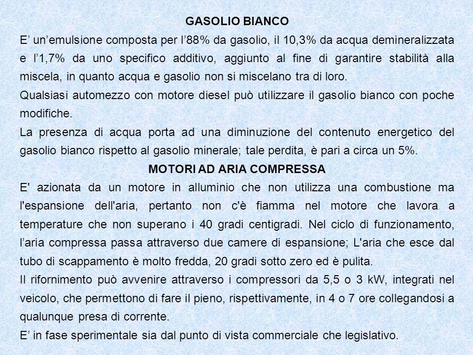 GASOLIO BIANCO E unemulsione composta per l88% da gasolio, il 10,3% da acqua demineralizzata e l1,7% da uno specifico additivo, aggiunto al fine di garantire stabilità alla miscela, in quanto acqua e gasolio non si miscelano tra di loro.