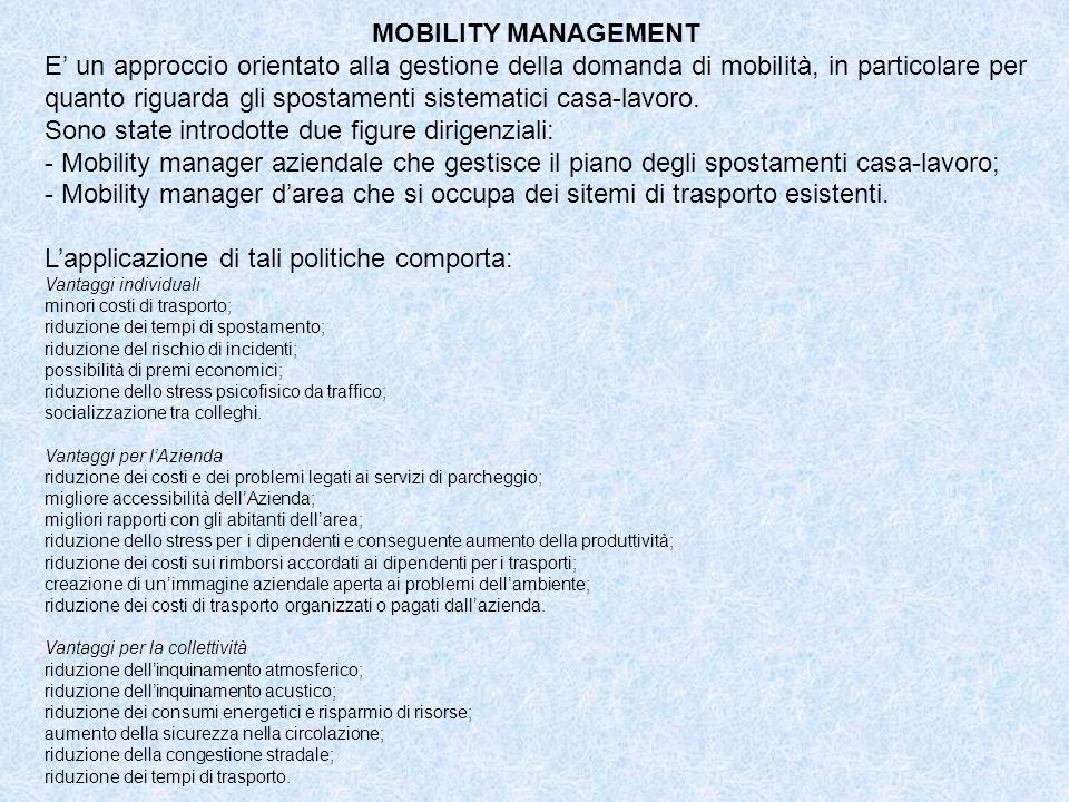 MOBILITY MANAGEMENT E un approccio orientato alla gestione della domanda di mobilità, in particolare per quanto riguarda gli spostamenti sistematici casa-lavoro.