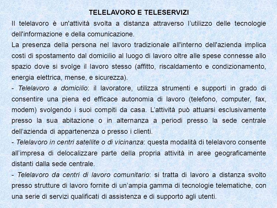 TELELAVORO E TELESERVIZI Il telelavoro è un attività svolta a distanza attraverso lutilizzo delle tecnologie dell informazione e della comunicazione.
