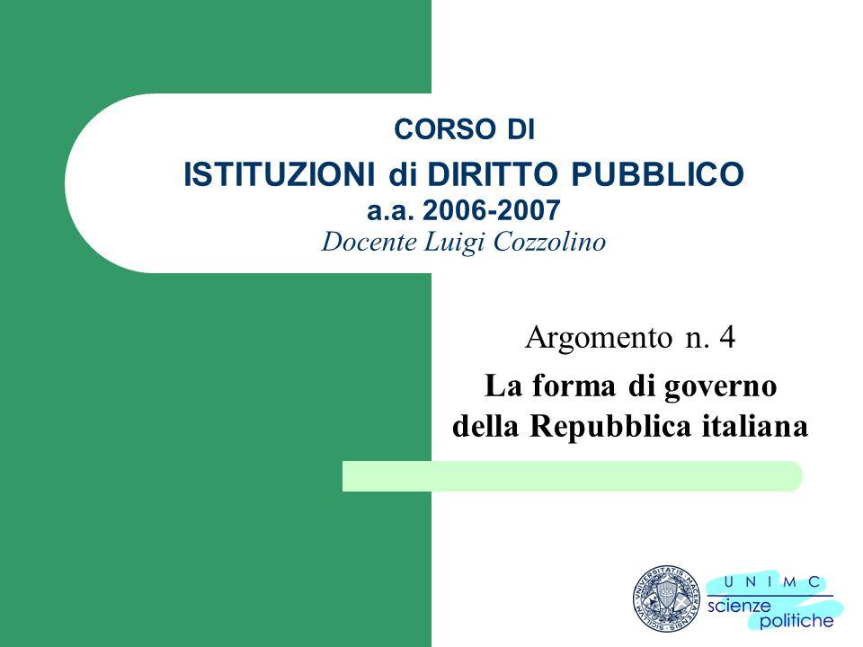 CORSO DI ISTITUZIONI di DIRITTO PUBBLICO a.a. 2006-2007 Docente Luigi Cozzolino Argomento n. 4 La forma di governo della Repubblica italiana