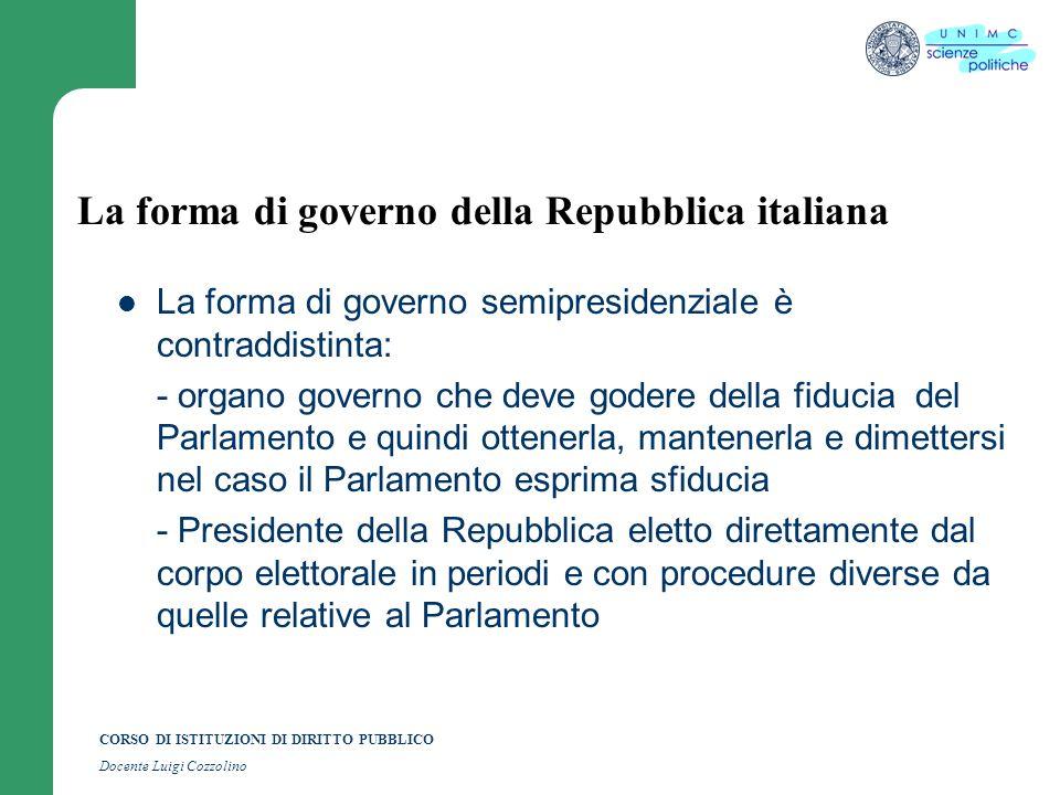 CORSO DI ISTITUZIONI DI DIRITTO PUBBLICO Docente Luigi Cozzolino La forma di governo della Repubblica italiana La forma di governo semipresidenziale è