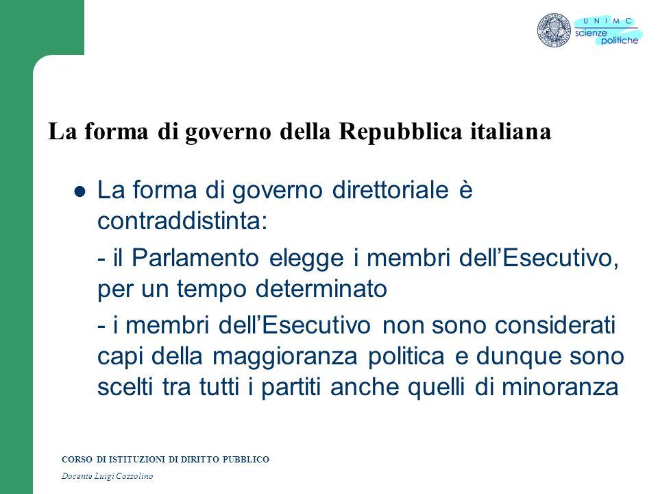 CORSO DI ISTITUZIONI DI DIRITTO PUBBLICO Docente Luigi Cozzolino La forma di governo della Repubblica italiana La forma di governo direttoriale è cont