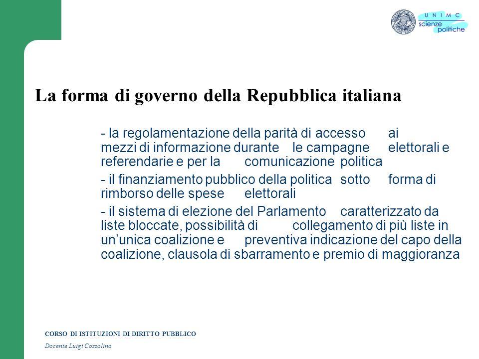 CORSO DI ISTITUZIONI DI DIRITTO PUBBLICO Docente Luigi Cozzolino La forma di governo della Repubblica italiana - la regolamentazione della parità di a