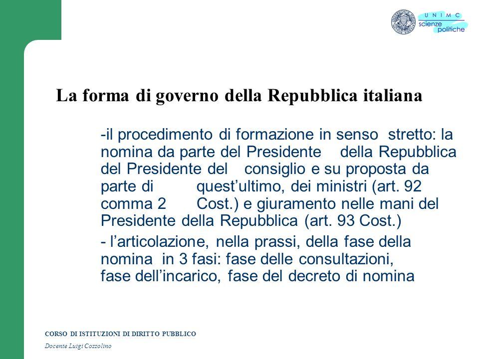 CORSO DI ISTITUZIONI DI DIRITTO PUBBLICO Docente Luigi Cozzolino La forma di governo della Repubblica italiana -il procedimento di formazione in senso