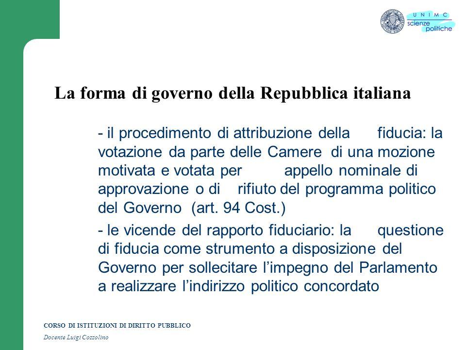 CORSO DI ISTITUZIONI DI DIRITTO PUBBLICO Docente Luigi Cozzolino La forma di governo della Repubblica italiana - il procedimento di attribuzione della