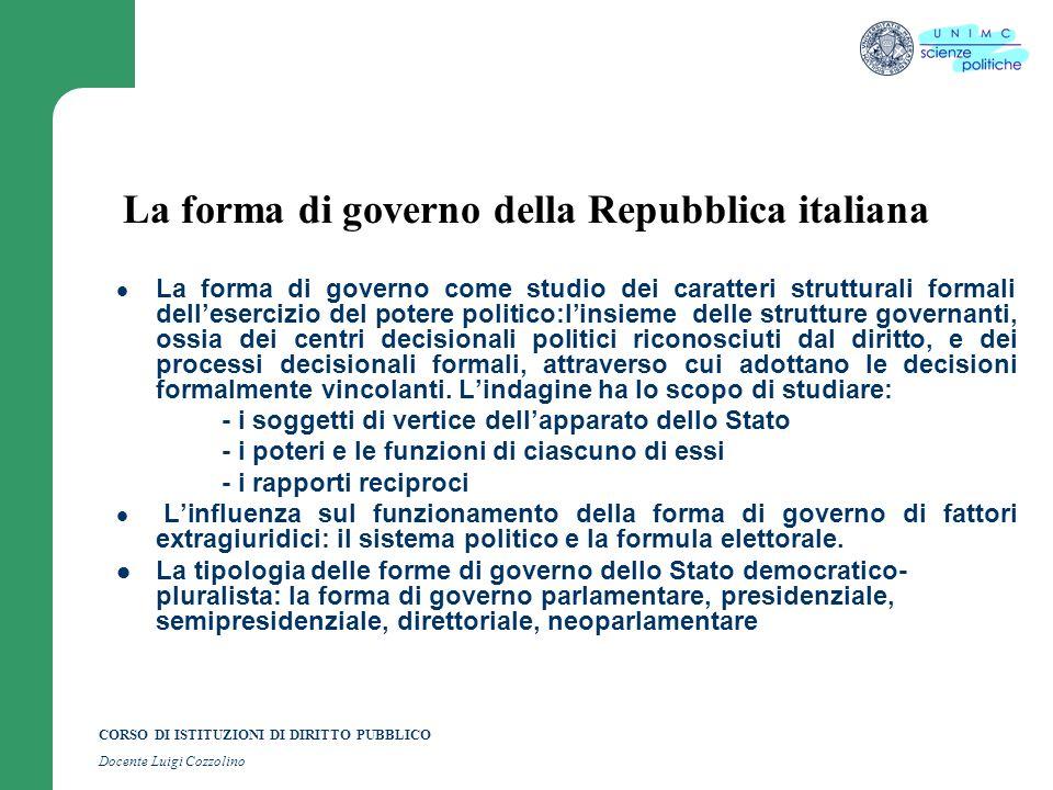 CORSO DI ISTITUZIONI DI DIRITTO PUBBLICO Docente Luigi Cozzolino La forma di governo della Repubblica italiana La forma di governo come studio dei car