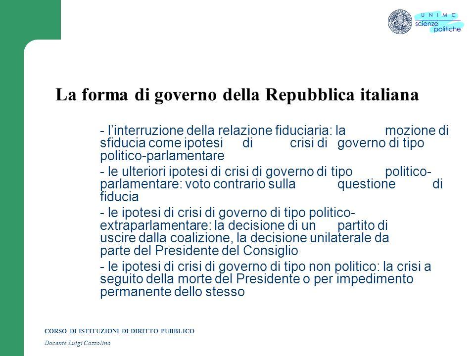 CORSO DI ISTITUZIONI DI DIRITTO PUBBLICO Docente Luigi Cozzolino La forma di governo della Repubblica italiana - linterruzione della relazione fiducia