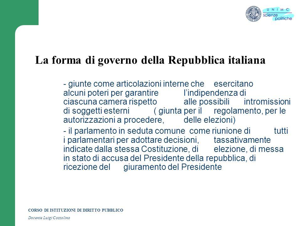 CORSO DI ISTITUZIONI DI DIRITTO PUBBLICO Docente Luigi Cozzolino La forma di governo della Repubblica italiana - giunte come articolazioni interne che