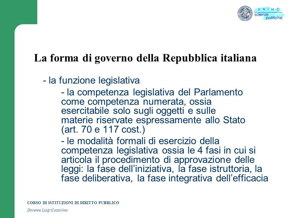 CORSO DI ISTITUZIONI DI DIRITTO PUBBLICO Docente Luigi Cozzolino La forma di governo della Repubblica italiana - la funzione legislativa - la competen