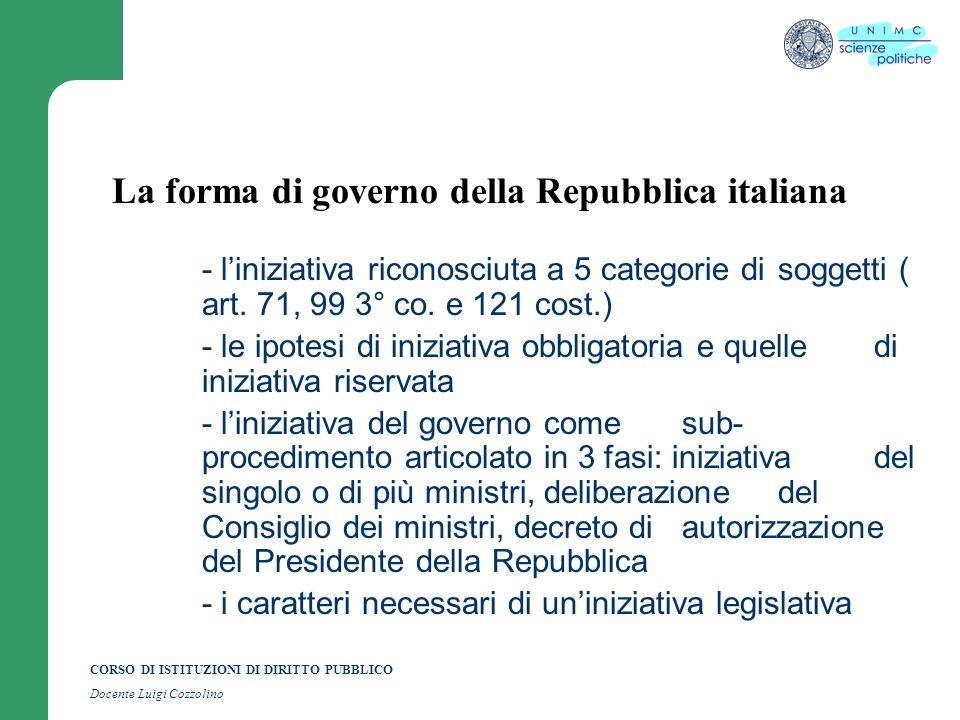 CORSO DI ISTITUZIONI DI DIRITTO PUBBLICO Docente Luigi Cozzolino La forma di governo della Repubblica italiana - liniziativa riconosciuta a 5 categori