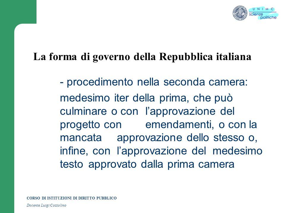 CORSO DI ISTITUZIONI DI DIRITTO PUBBLICO Docente Luigi Cozzolino La forma di governo della Repubblica italiana - procedimento nella seconda camera: me