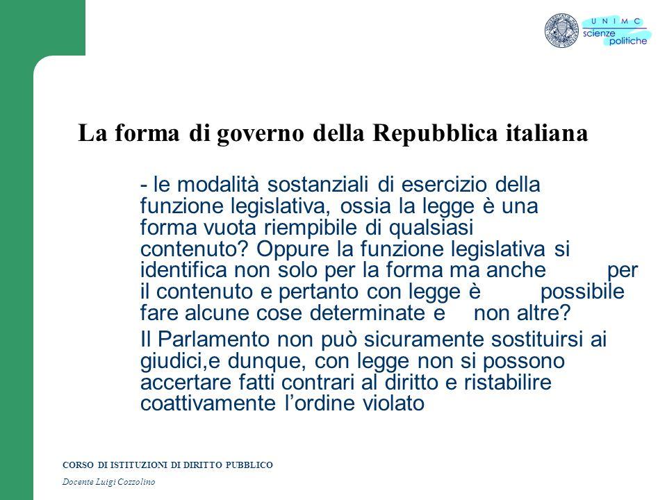CORSO DI ISTITUZIONI DI DIRITTO PUBBLICO Docente Luigi Cozzolino La forma di governo della Repubblica italiana - le modalità sostanziali di esercizio