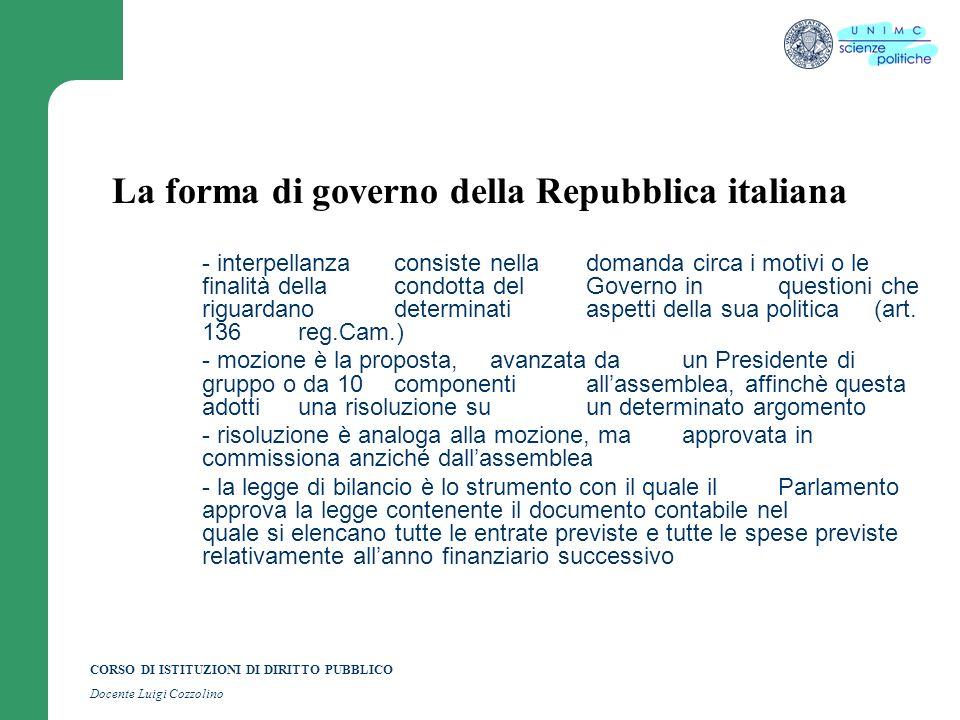 CORSO DI ISTITUZIONI DI DIRITTO PUBBLICO Docente Luigi Cozzolino La forma di governo della Repubblica italiana - interpellanzaconsiste nella domanda c