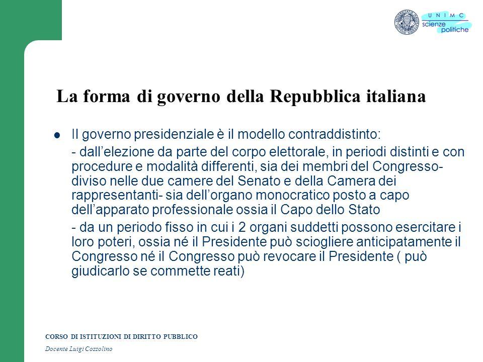 CORSO DI ISTITUZIONI DI DIRITTO PUBBLICO Docente Luigi Cozzolino La forma di governo della Repubblica italiana Il governo presidenziale è il modello c