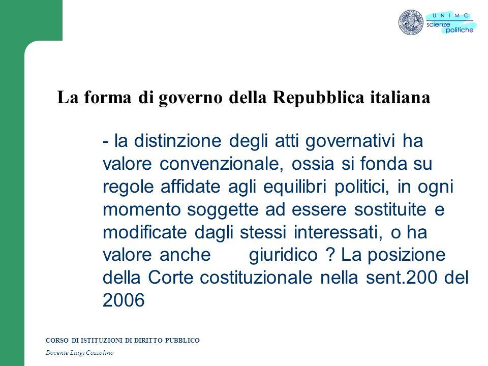 CORSO DI ISTITUZIONI DI DIRITTO PUBBLICO Docente Luigi Cozzolino La forma di governo della Repubblica italiana - la distinzione degli atti governativi