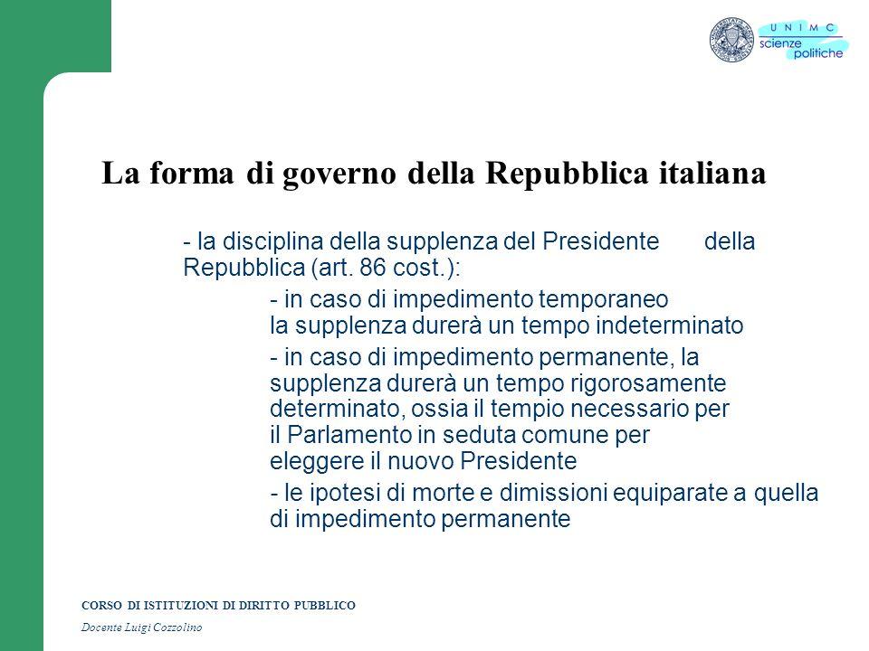 CORSO DI ISTITUZIONI DI DIRITTO PUBBLICO Docente Luigi Cozzolino La forma di governo della Repubblica italiana - la disciplina della supplenza del Pre