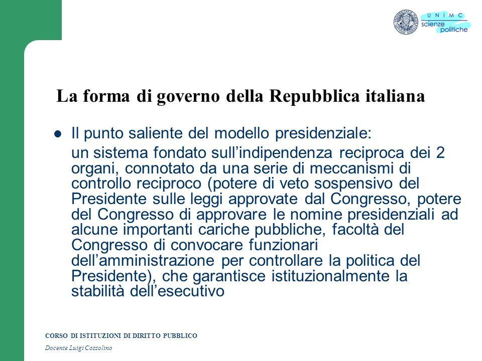 CORSO DI ISTITUZIONI DI DIRITTO PUBBLICO Docente Luigi Cozzolino La forma di governo della Repubblica italiana Il punto saliente del modello presidenz