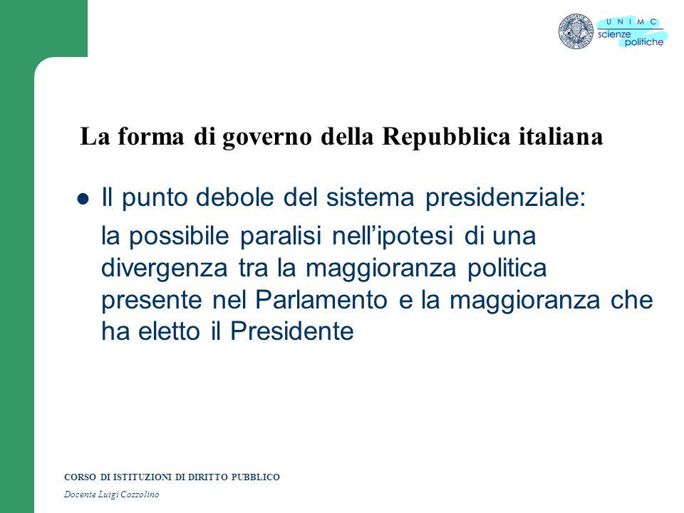 CORSO DI ISTITUZIONI DI DIRITTO PUBBLICO Docente Luigi Cozzolino La forma di governo della Repubblica italiana Il punto debole del sistema presidenzia