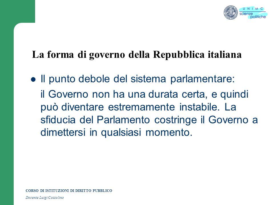 CORSO DI ISTITUZIONI DI DIRITTO PUBBLICO Docente Luigi Cozzolino La forma di governo della Repubblica italiana Il punto debole del sistema parlamentar
