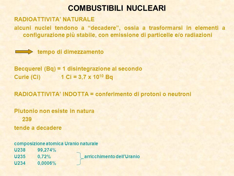 COMBUSTIBILI NUCLEARI RADIOATTIVITA NATURALE alcuni nuclei tendono a decadere, ossia a trasformarsi in elementi a configurazione più stabile, con emissione di particelle e/o radiazioni tempo di dimezzamento Becquerel (Bq) = 1 disintegrazione al secondo Curie (Ci)1 Ci = 3,7 x 10 10 Bq RADIOATTIVITA INDOTTA = conferimento di protoni o neutroni Plutonio non esiste in natura 239 tende a decadere composizione atomica Uranio naturale U23899,274% U2350,72%arricchimento dellUranio U2340,0006%